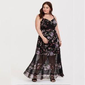 Torrid Black Floral Mesh Maxi Dress sz 1